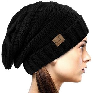🖤 Black Woman's Slouch Beenie hat *NWT* 🖤